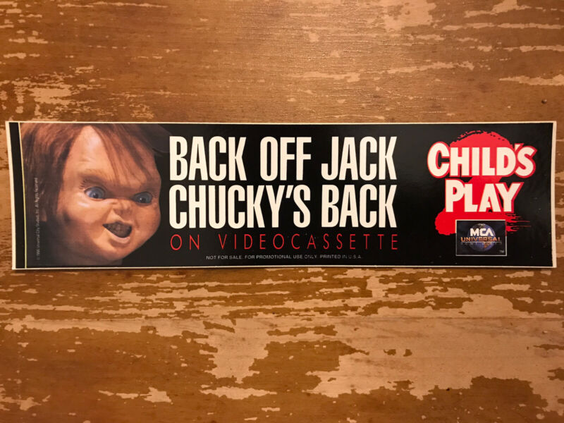 Child's Play 2 Chucky Bumper Sticker vintage video store promo