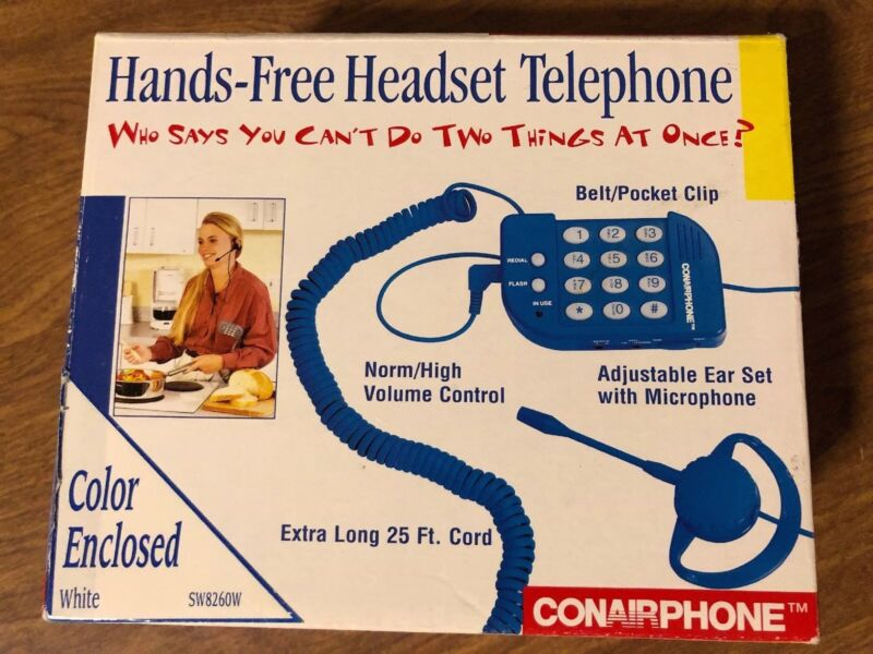 Vintage Conair Phone Hand Free Headset Telephone White SW8260 Belt Clip 25' Cord
