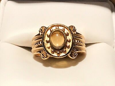 Cabachon Gemstone (14KT YELLOW GOLD RING WITH A ONE CARAT CABACHON CITRINE GEMSTONE)