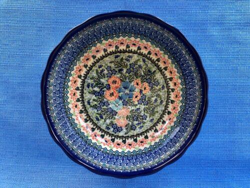 "UNIKAT Polish Pottery 11"" Serving Bowl Baker, Signed; M. Starzyk #2952 - Scallop"