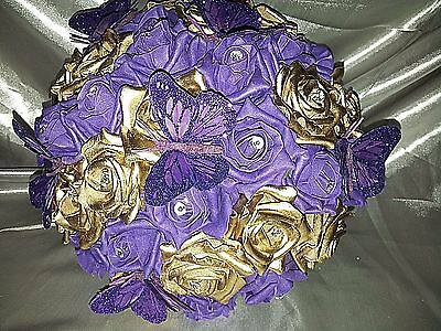 GOLD & PURPLE ROSE WEDDING BOUQUET WITH BUTTERFLIES AND DIAMANTES