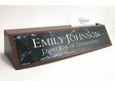 Desk Name Plate With Business Card Holder Walnut Wood Black Marble Look Plate