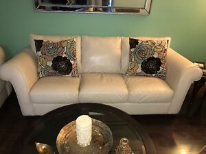 Genuine leather ivory sofa and chaise