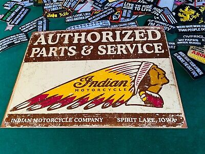 INDIAN MOTORCYCLE AUTHORIZED PARTS Tin Metal Sign Wall w/ FREE PATCH vintage