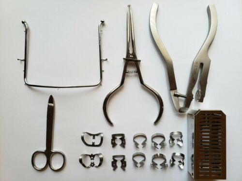 Rubber Dam Set: Punch, Hu- Friedy Forceps, Frame, Clamps, Scissors