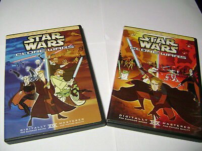 Star Wars Clone Wars  VOLUME TWO / VOLUME ONE DVD LOT 1 & 2  -MINT & INSERTS USA