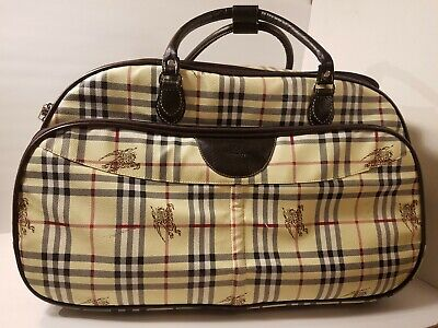 Authentic Vintage Burberry's Blue Label large Rolling Luggage Bag, Beautiful  Plaid Large Rolling Luggage
