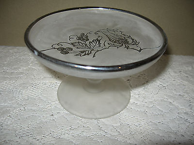 """SMALL FROSTED & SILVER OVERLAY PEDESTAL CANDY SERVING DISH   2 3/4"""" x 4 1/2"""""""