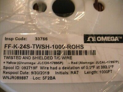Omega Ff-k-24s-twsh Shielded Thermocouple Wire Type K 24 Awg Fep Jacket 25 Feet