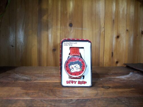 BETTY BOOP LADIES WRISTWATCH 1 1/2 INCH FACE RED GLITTER BAND CASUAL NOVELTY NEW