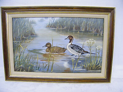Vintage Beautiful The Pintails Oil Painting Leland D. Schaperkotter