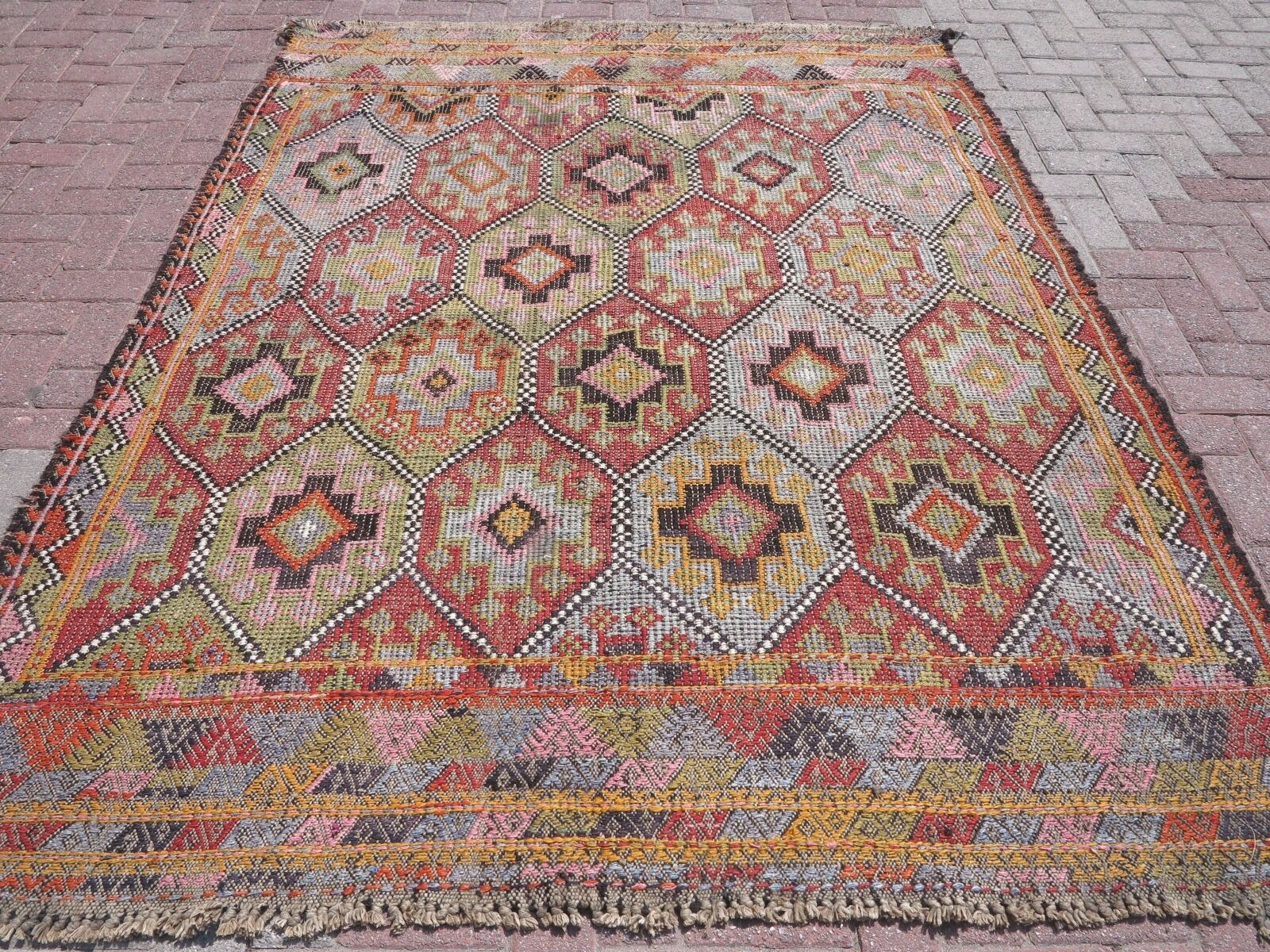 Vintage Turkish Kilim Rug Anatolian Tribal 74 X94 4 Area Rugs