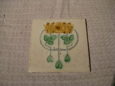 Antique Post-Victorian Art Nouveau Fireplace Tile
