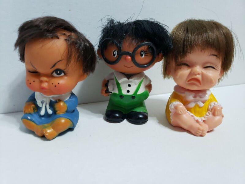 "Vintage Moody Cuties 3½""  Rubber Doll Korea/Hong Kong Lot"