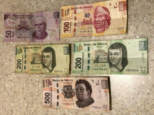 1050 Mexico New/Neuvo Pesos Bills Paper Currency Money
