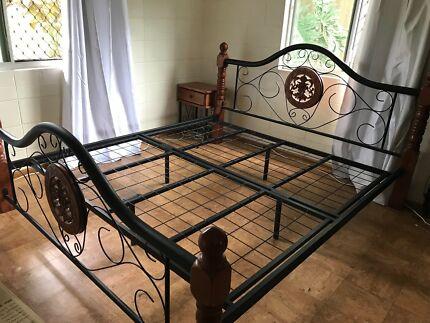 King size bed frame plus 2 bedside tables