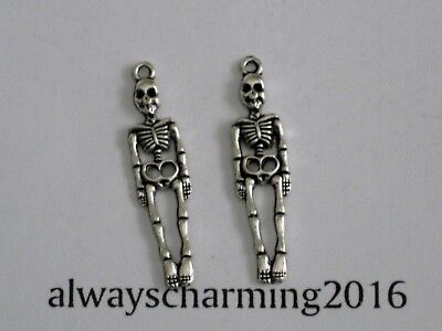 """12 PIECES """"SKELETONS"""" -  SILVER HALLOWEEN CHARMS FOR JEWELRY BRACELET EARRINGS"""
