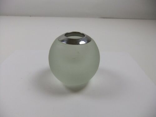 Vintage Large Round Glass and Silver Rim Match Holder and Striker