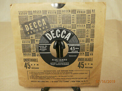 """""""Belle Of The Ball / Blue Tango"""" by Leroy Anderson - Decca 9-27875 - 45rpm Vinyl"""