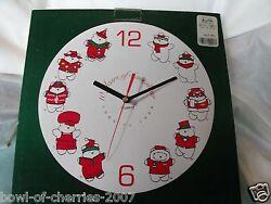 Santabear Ceramic Wall Clock-Quartz Movement, 1985-1994, NEW IN BOX