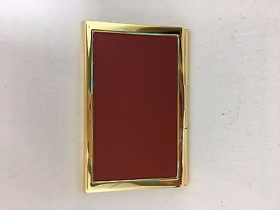 Executive Leather And Brass Business Card Holder