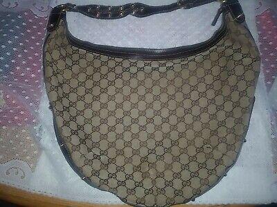 Vintage Gucci Biba Monogram Large Studded Hobo Brown Hand Bag Purse 159406