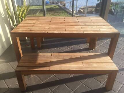 Outdoor Wooden Dining Table With Bench Seats By Jamie Durie