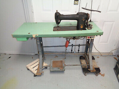 Antique Industrial Singer Sewing Machine 241-2 On Industrial Table Works Great