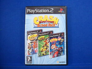ps2 CRASH BANDICOOT 3 Game Action Pack Nitro Kart Tag Team Racing Twinsanity PAL