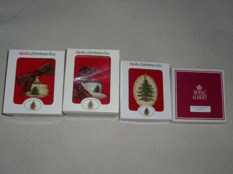 BOXED ORNAMENT LOT OF 4 SPODE CHRISTMAS TREE TEA CUP SAUCER ROYAL ALBERT TEAPOT