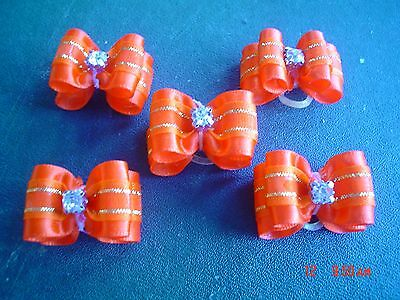 Pretty Orange And Gold Show Style Dog Grooming Bows Diamante Centre #2