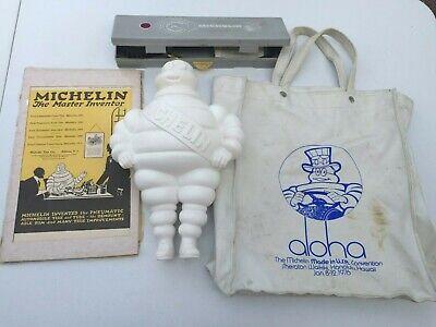 "Lot Vintage Michelin Man 14"" + Pressure Gauge + Advert + Tote Bag Rubber VGC"