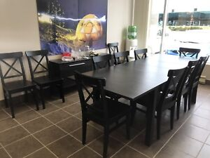 IKEA dining table, hutch, and 12 chairs