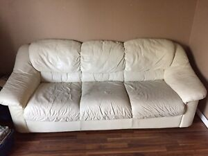 Two White Leather Couches