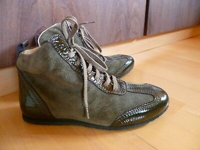 Grün Leder Sneakers (Strenesse 👠 Leder Sneakers Boots Schuhe Grün ღ Made in Italy 36 ღ w.Neu)