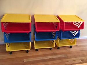 Storage galore - Toy or Craft organizer - fun colors, on wheels