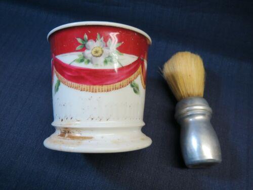Vintage Floral Personalized Porcelain Shaving Mug T&V Limoges France with Brush