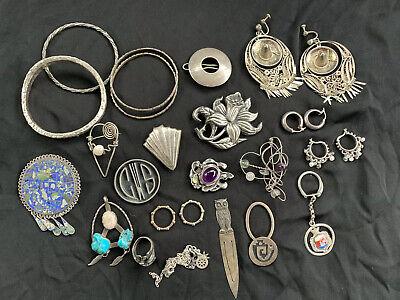 Vintage Lot Sterling Silver Pins Rings Bracelet  Earrings Taxco Brutalist   -