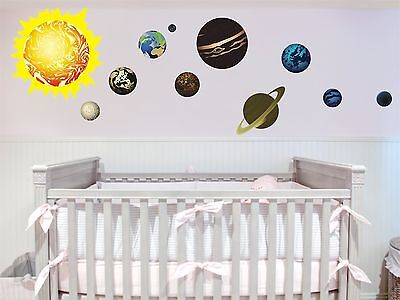 Solar System Planets Removable Art Vinyl Wall Decal Sticker Decor Baby Nursery - Solar System Decorations