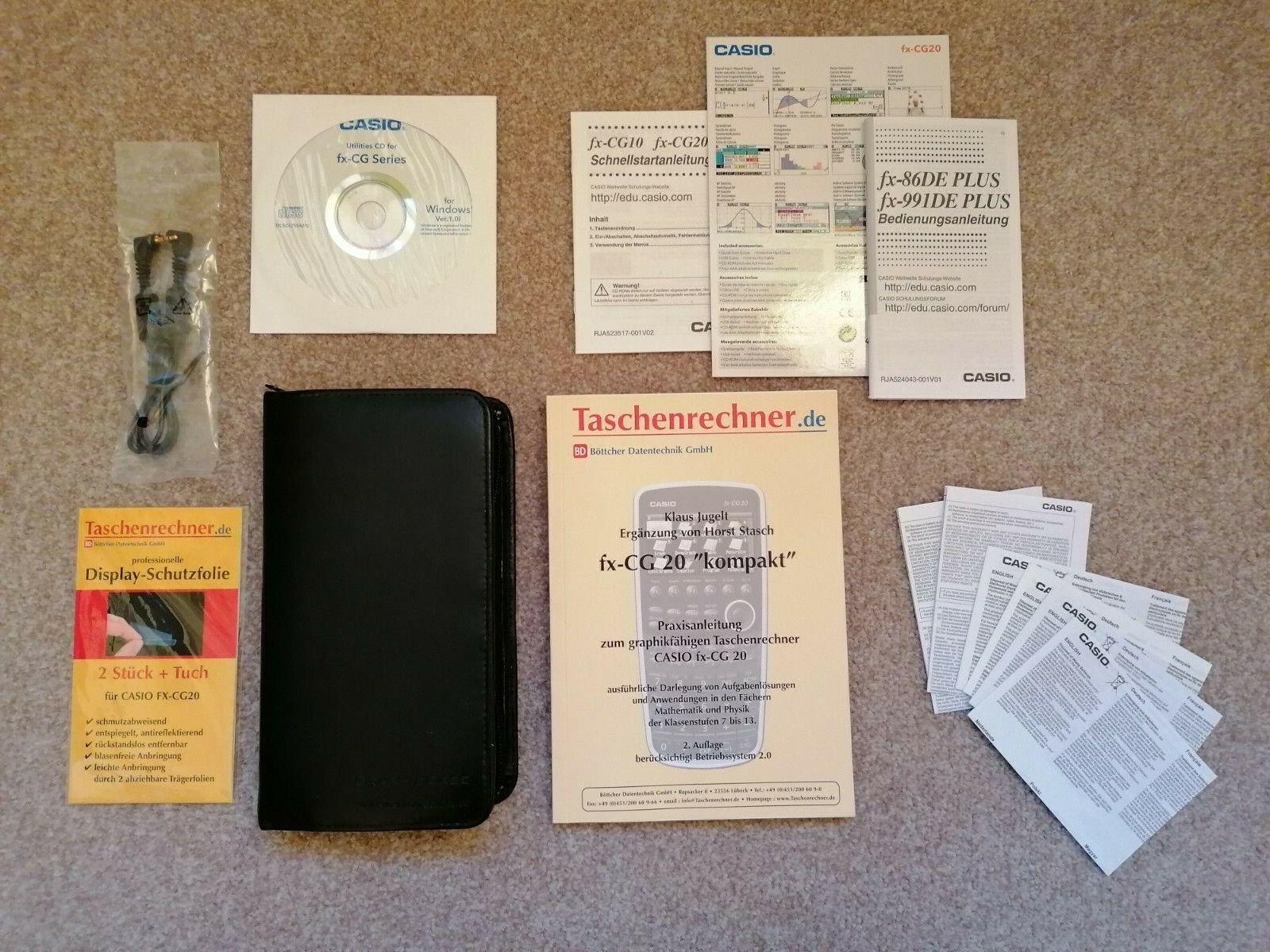 Casio Grafikrechner fx-CG 20 Taschenrechner + Tasche + Schutzfolien | Schule Uni