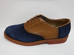 Polo Ralph Lauren Size 7 Blue Brown Leather Oxfords New Mens Shoes