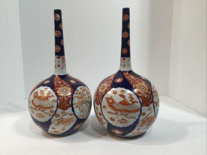 """Rare Pair of Antique  Meiji JapaneseImari Porcelain Bottle neck Vases 12 1/4"""" Hi"""