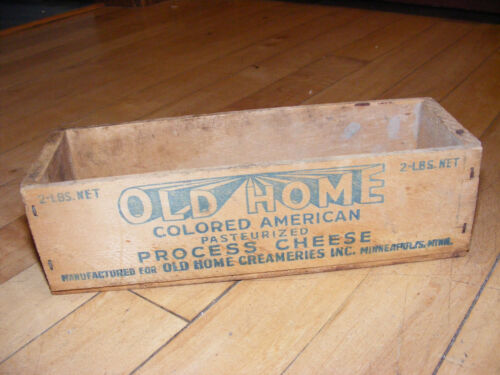 Vintage OLD HOME Cheese 2 lbs Wood Box Crate Dairy Advertising