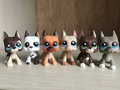 6 lot Littlest Pet Shop LPS Toy Great Dane Dog Animals Collection Christmas Gift