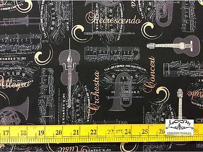 RPB103X Allegro Music Notes Instruments Opera Orchestra Cotton Quilting Fabric ()