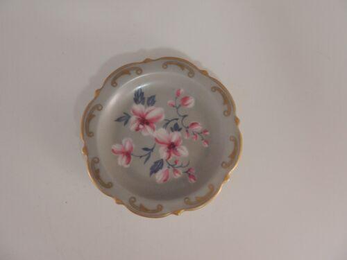 antique grayish green butter pat pink flowers gold accents Konigl pr Tettau