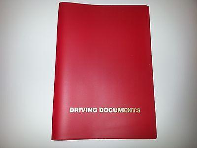 A5 RED CAR DOCUMENT HOLDER HOLDER WITH CARD POCKET
