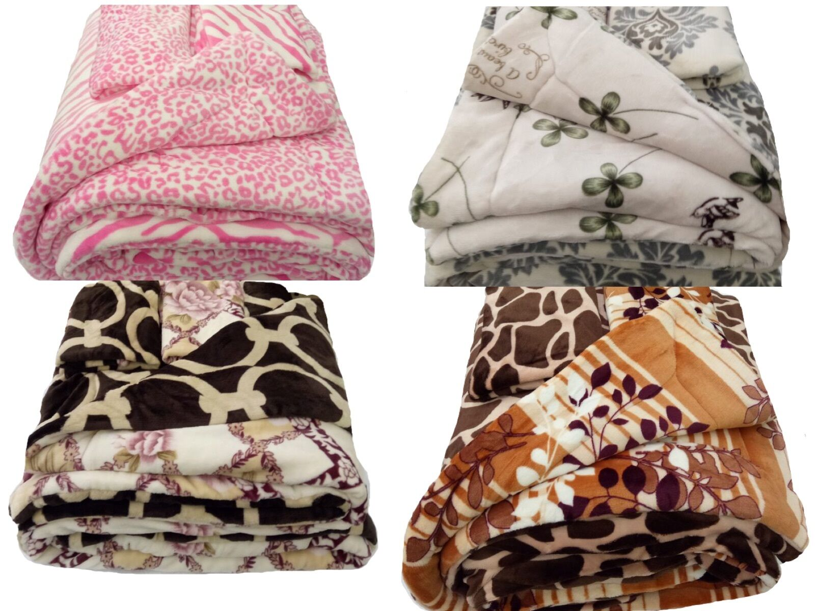 3 PC REVERSIBLE Super Soft Plush Blanket Set! Blanket + 2Pil