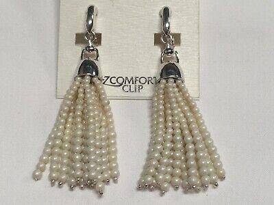 """Ralph Lauren Faux Pearl Dangle EZ-Clip Silver Plated Earrings 2"""" Macy's New P558"""