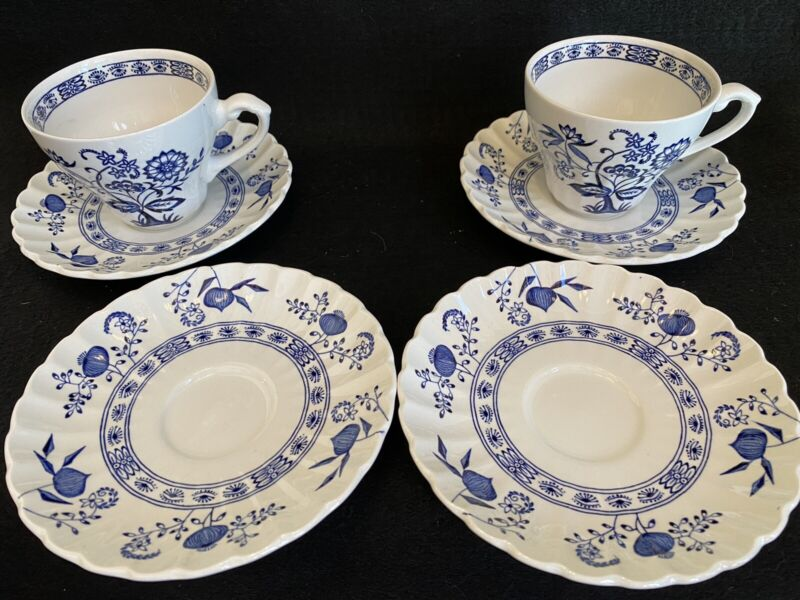 Meakin J&G Blue Nordic Set of 2 Cups & Saucers + 2 Saucers Classic Ironstone
